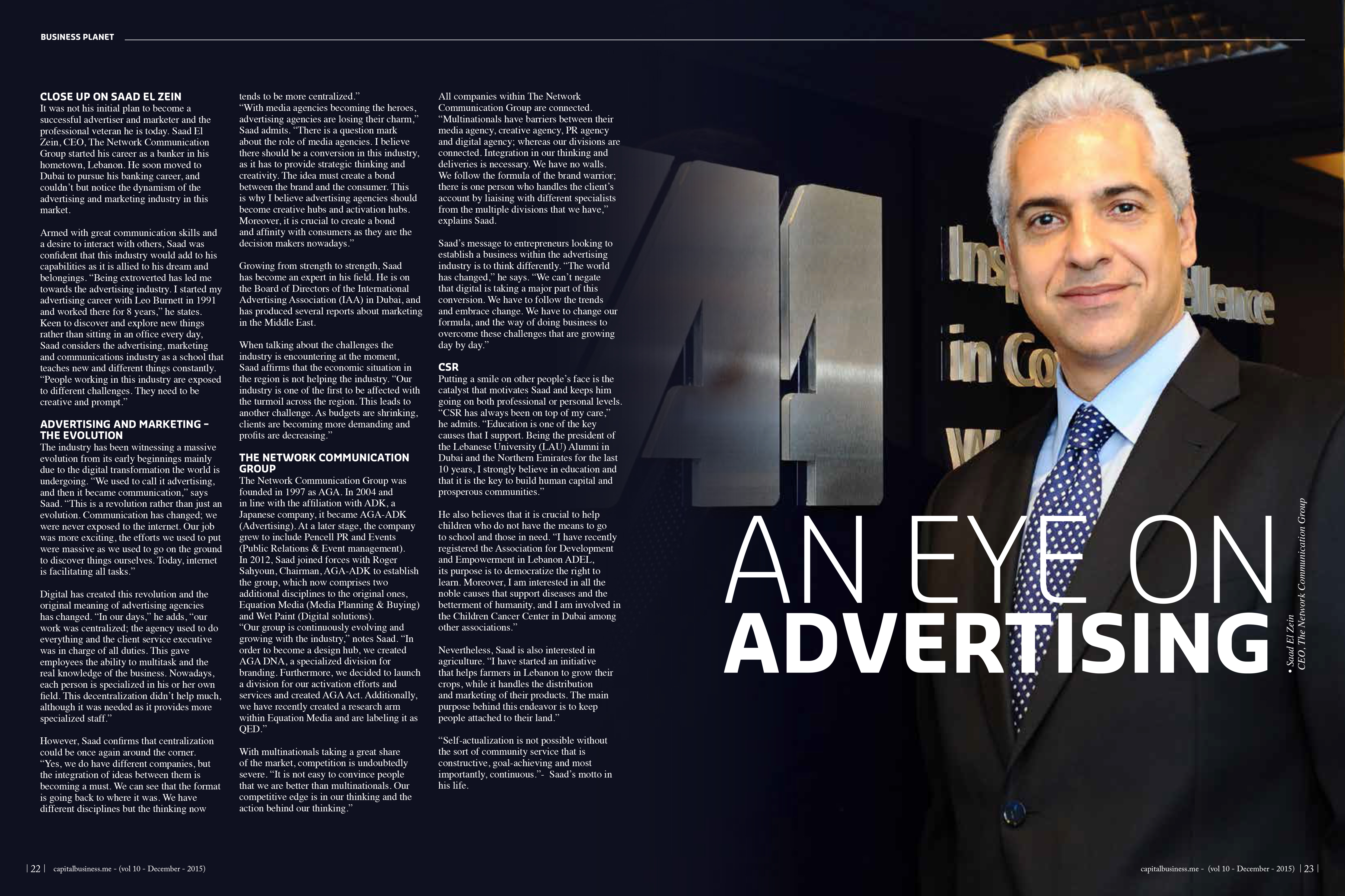 An Article titled An EyesOn Advertising by Capital Business magazine